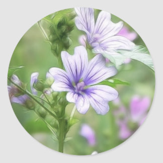 Two Delicate Mallow Flowers Classic Round Sticker