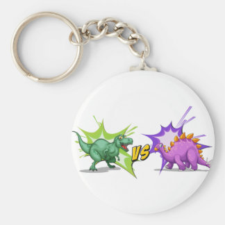 Two dinosaurs fighting each other basic round button keychain