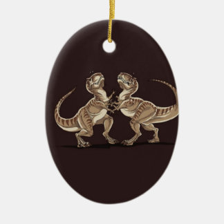 Two dinosaurs fighting each other illustration ceramic ornament