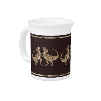 Two dinosaurs fighting each other illustration drink pitcher