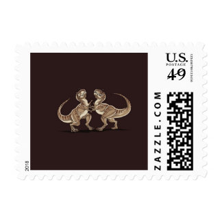Two dinosaurs fighting each other illustration postage
