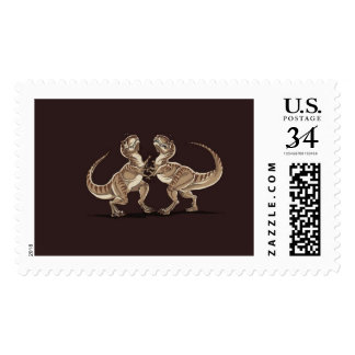 Two dinosaurs fighting each other illustration postage stamp