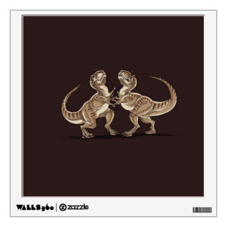 Two dinosaurs fighting each other illustration room decal