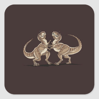 Two dinosaurs fighting each other illustration square sticker