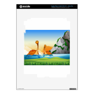 Two dinosaurs in the lake skins for iPad 3