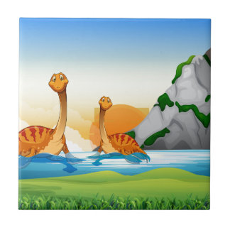 Two dinosaurs in the lake tile
