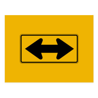 Two Direction Large Arrow, Traffic Sign, USA Postcard