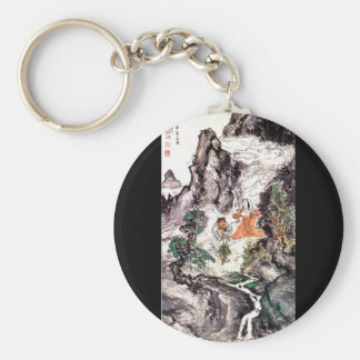 Two Divinities Dancing c. 1924 Japanese Painting Keychain