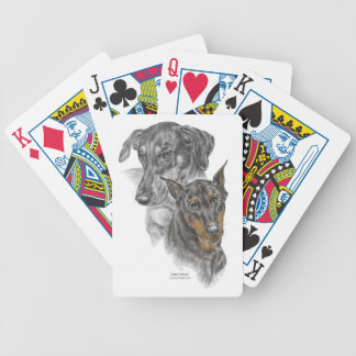 Two Doberman Pinscher Dogs Playing Cards Bicycle Poker Deck