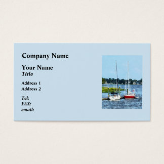 Two Docked Sailboats Norwalk, CT Business Card