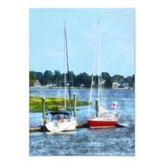 Two Docked Sailboats Norwalk, CT Custom Invitations