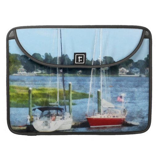 Two Docked Sailboats Norwalk, CT Sleeve For MacBooks