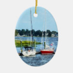 Two Docked Sailboats Norwalk, CT Christmas Ornament