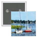Two Docked Sailboats Norwalk, CT Pinback Buttons