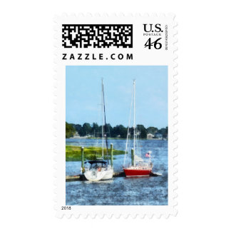 Two Docked Sailboats Norwalk CT Postage Stamp
