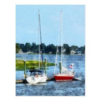 Two Docked Sailboats Norwalk, CT Postcard