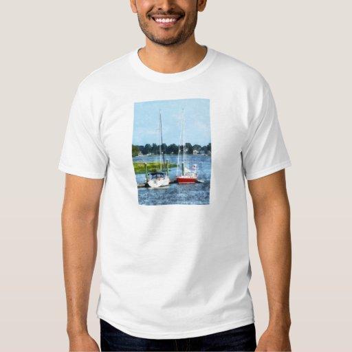 Two Docked Sailboats Norwalk, CT T-shirts
