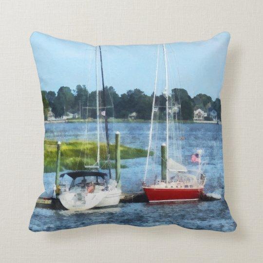Two Docked Sailboats Norwalk, CT Throw Pillow
