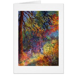 """""""Two Doe Peeking""""  Through Autumn Leaves~Yosemite Greeting Card"""