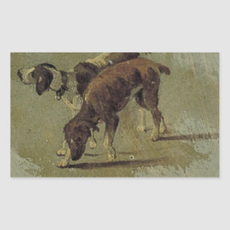 Two dogs by Theo van Doesburg Rectangular Sticker