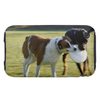 Two Dogs Fighting over Plastic Disc iPhone 3 Tough Cases