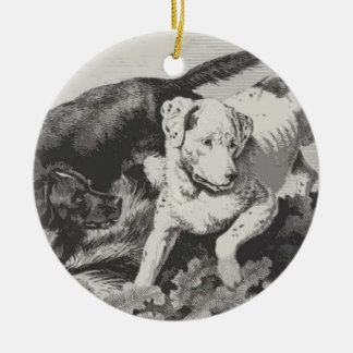 Two Dogs In A Field Christmas Ornament