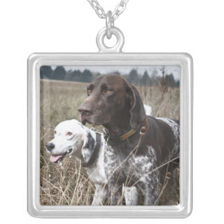 Two Dogs in Field, Houston, Texas, USA Silver Plated Necklace
