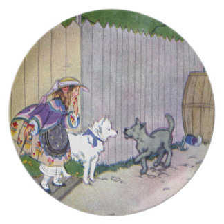 Two Dogs Meet in Alley Melamine Plate