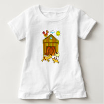 Two Dogs, Mummy and Baby, Playing Around Barn Baby Romper