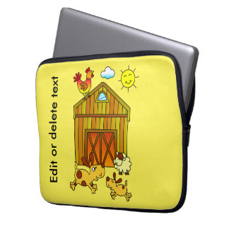 Two Dogs, Mummy and Baby, Playing Around Barn Laptop Sleeve