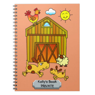 Two Dogs, Mummy and Baby, Playing Around Barn Spiral Notebook