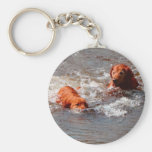 two dogs playing in the water keychain
