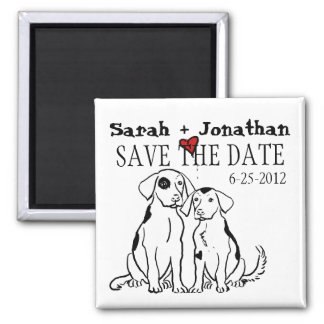 Two Dogs Puppy Love Save The Date 2 Inch Square Magnet