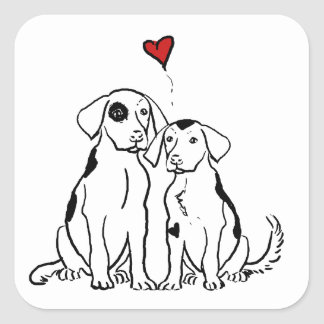 Two Dogs Puppy Love Square Sticker