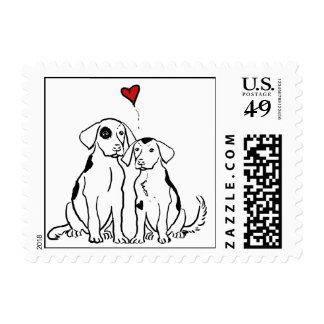 Two Dogs Puppy Love Wedding Postage Stamp