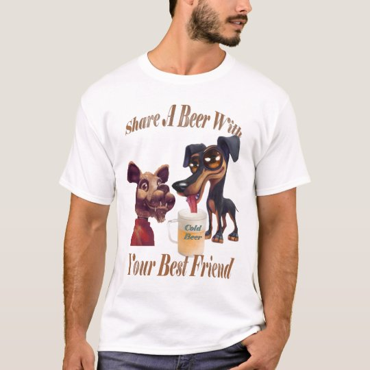Two Dogs Share A Beer T-Shirt