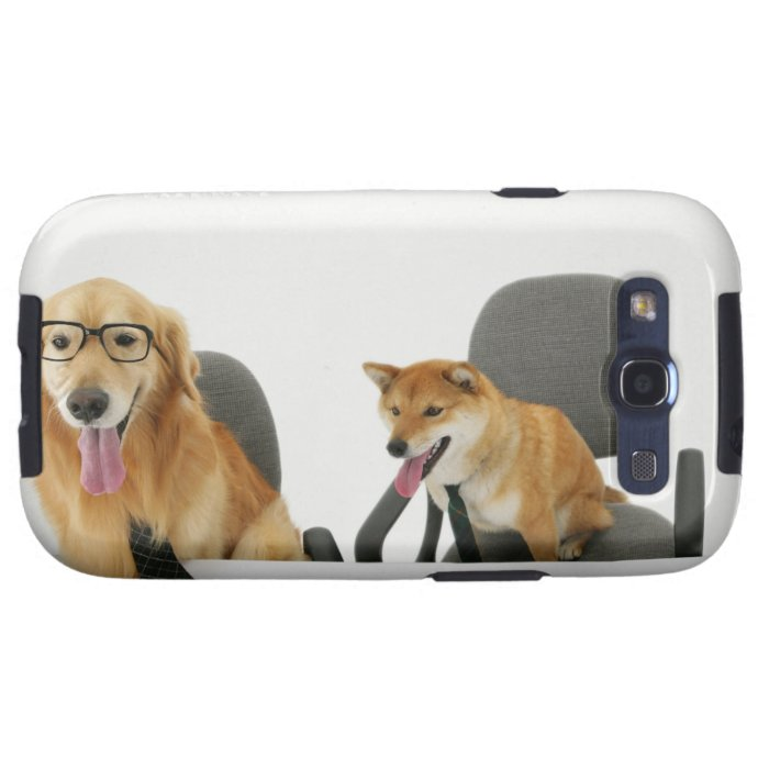 Two dogs wearing tie and glasses ,sitting on 2 samsung galaxy SIII cover