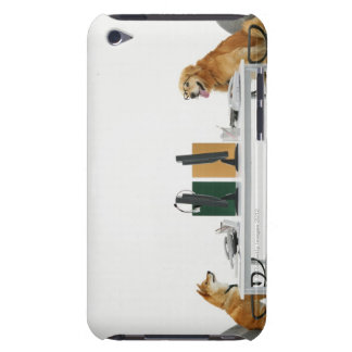 Two dogs wearing tie and glasses ,sitting on barely there iPod case