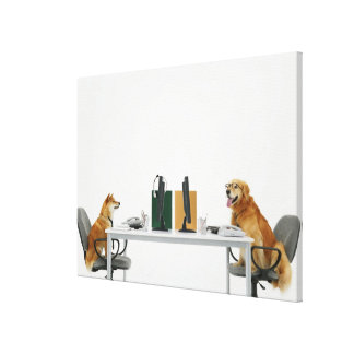Two dogs wearing tie and glasses sitting on stretched canvas prints