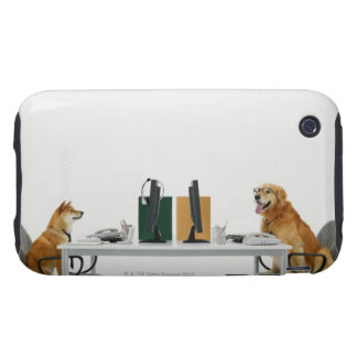 Two dogs wearing tie and glasses ,sitting on iPhone 3 tough cases