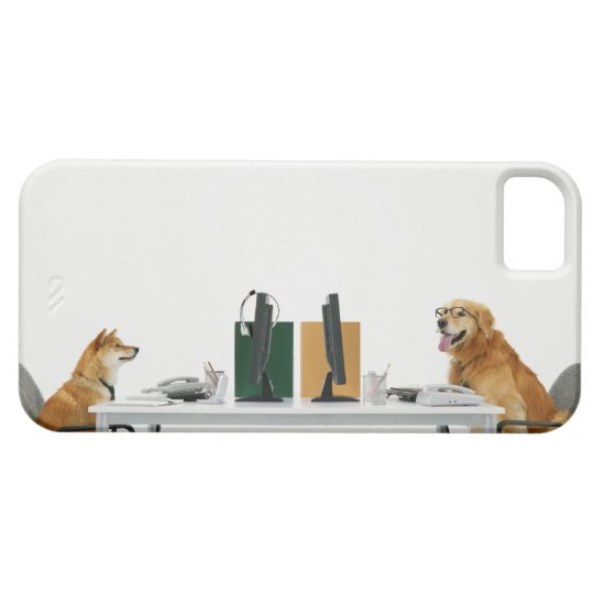 Two dogs wearing tie and glasses ,sitting on iPhone SE/5/5s case