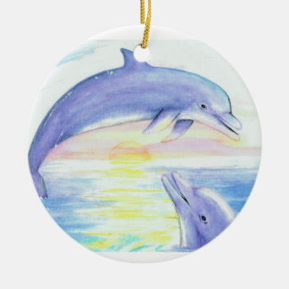 Two Dolphins at Sunset Ornament