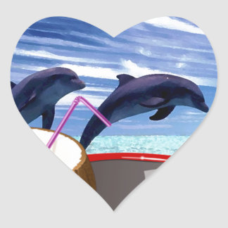 Two Dolphins in Summer Heart Sticker