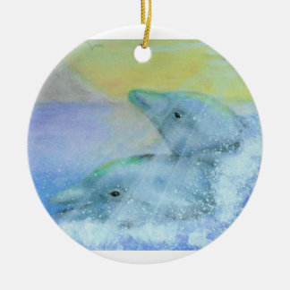 Two Dolphins Ornament