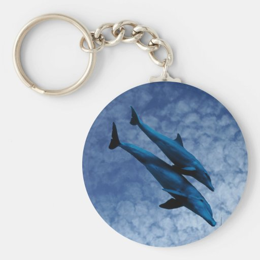 Two Dolphins Swiming at Sea Key Chains