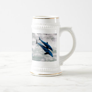 Two Dolphins Swiming at Sea 18 Oz Beer Stein