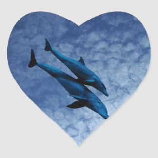 Two Dolphins Swiming at Sea Heart Sticker