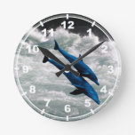 Two Dolphins Swiming at Sea Wall Clocks