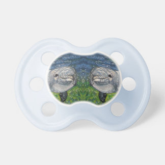 Two Dolphins Swimming: Color Pencil Drawing, Art Baby Pacifier