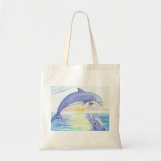 Two Dolphins Watercolor Sunset Bag
